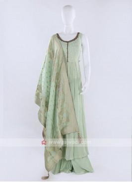 Light pista Color Palazzo Suit With Dupatta