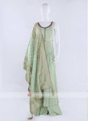 Light pista Color Palazzo Suit With Dupatta