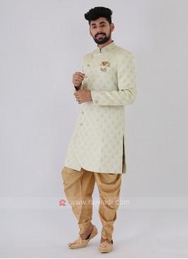 Light Pista Green Mens Indo-Western