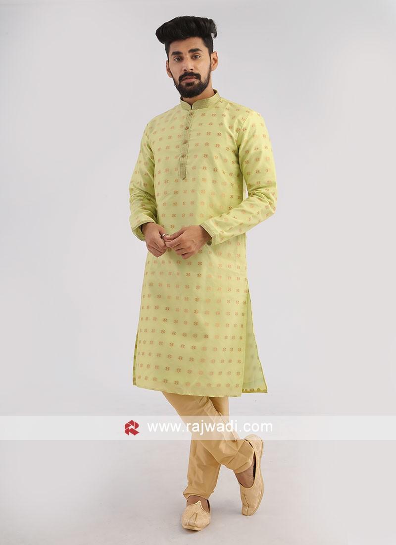 Light Pista Green Silk Kurta Pajama