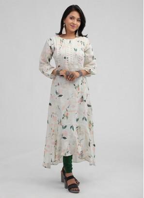 Light Pista Kurti In Soft Linen Fabric