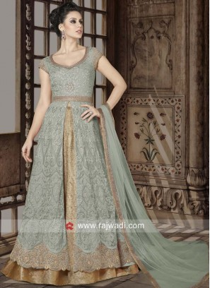 Light Pista Semi Stitched Heavy Salwar Suit
