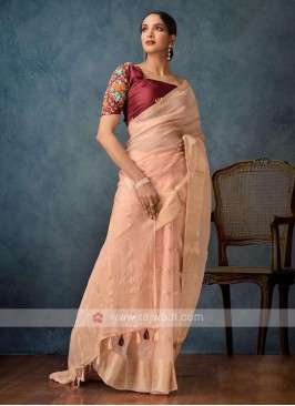 light peach color saree
