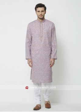 Light Purple Cotton Fabric Kurta Pajama