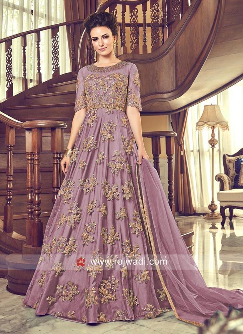 Light Purple Net Anarkali Salwar Kameez