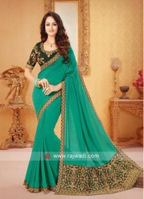 Light Sea Green Art Silk Saree