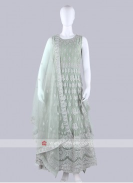 Light Sea Green Color Anarkali Suit with dupatta