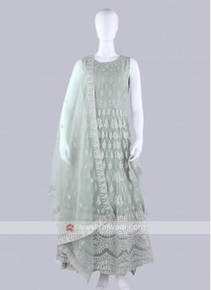 Light Sea Green Color Anarkali Suit with dupatta