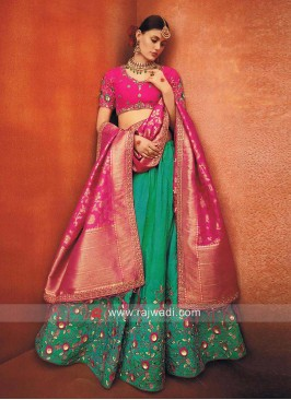 Light Sea Green Lehenga with Choli and Dupatta