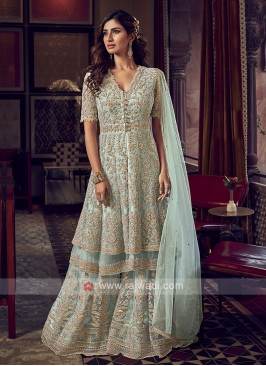 Light Sea Green Net Dress Material