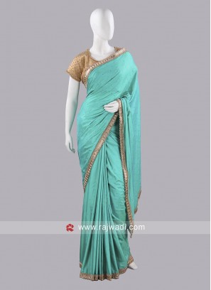 Light Sea Green Saree with Border