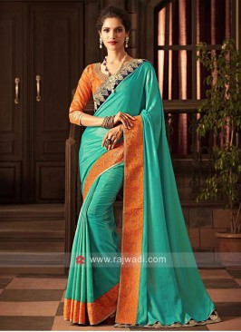Light Sea Green Saree with Orange Border
