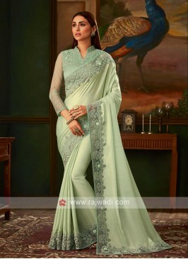 Light sea green shimmer chiffon saree