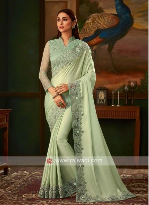 Light sea green shimmer chiffon saree
