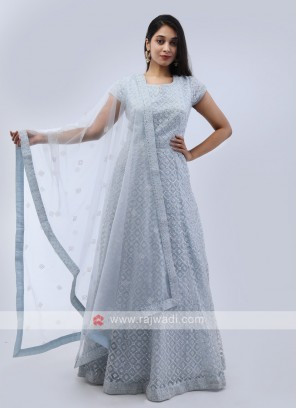 Light Sky Blue Anarkali Suit