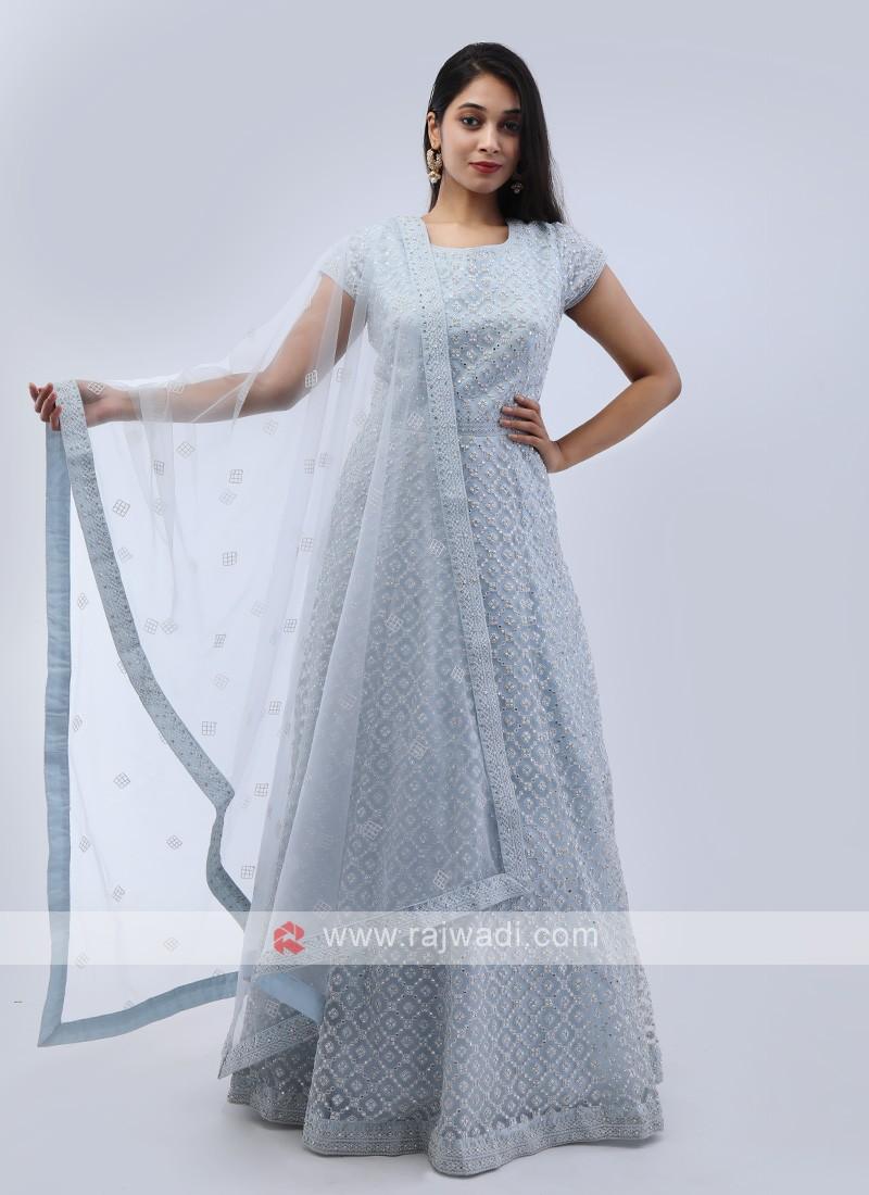 Light Sky Blue Anarkali Suit