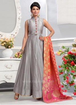 Light Slate Grey Anarkali Dress with Deep Pink Dupatta