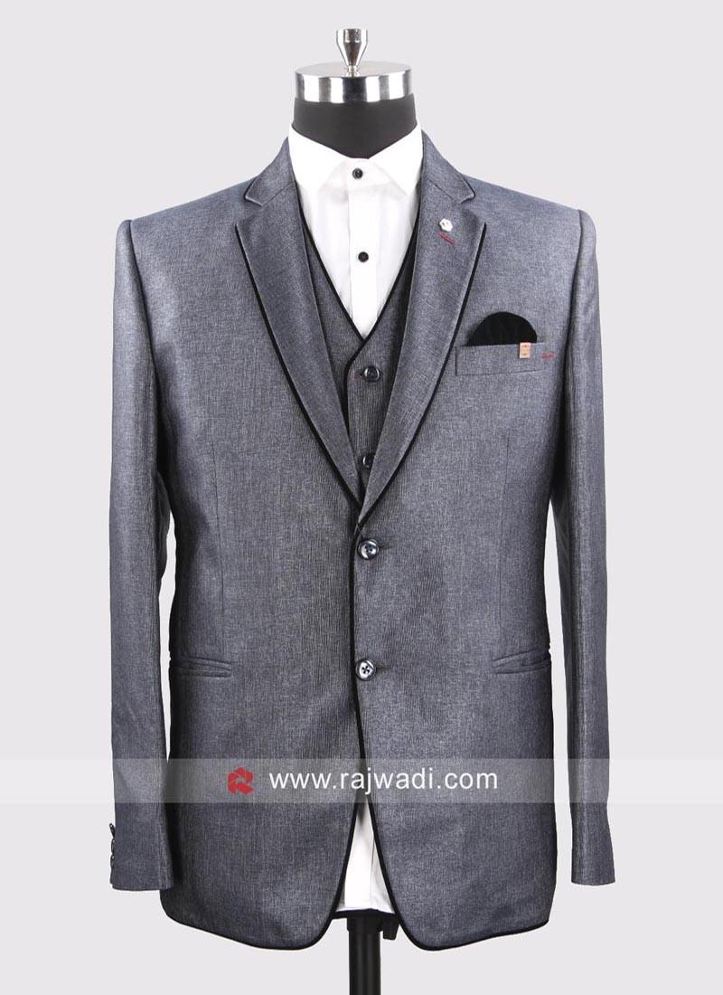 Light Slate Grey Suit For Wedding