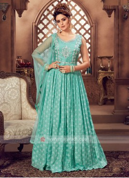 Light Teal Color Anarkali Suit