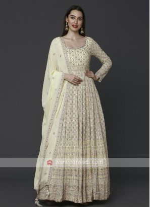 Light Yellow Anarkali Suit With Dupatta