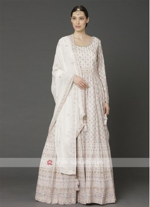 Off White Anarkali Suit With Dupatta
