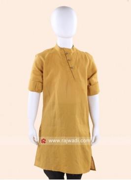 Mustard Yellow Linen Cotton  Kurta