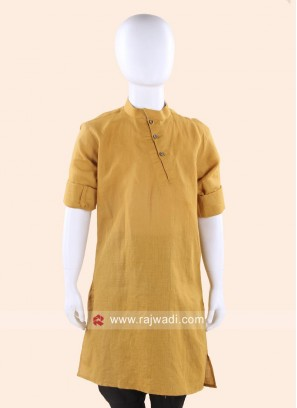 Mustard Yellow Linen Cotton  Kurta