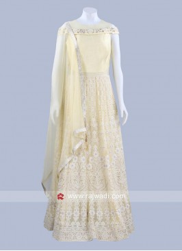 Light Yellow Chiffon Anarkali Dress