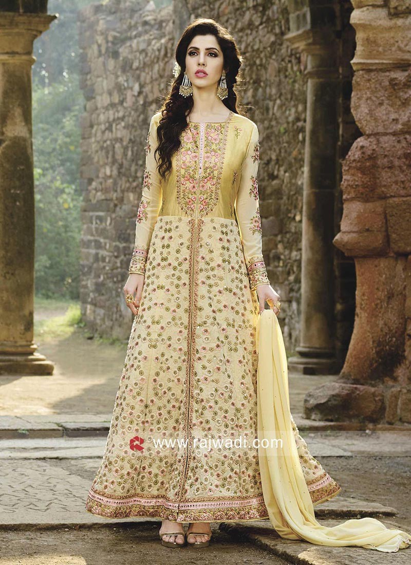 Light Yellow Chiffon Unstitched Salwar Suit