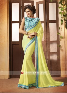 Light Yellow Chinon Saree