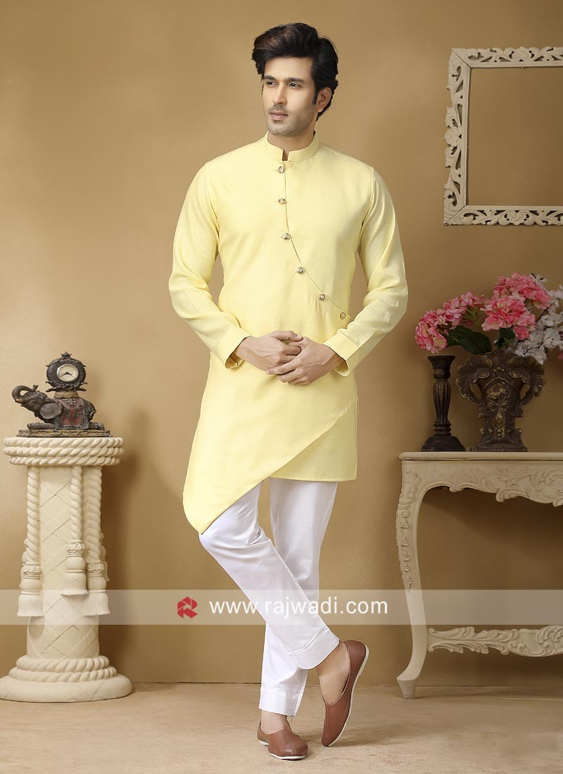 Light Yellow Color Kurta Set For Sangeet