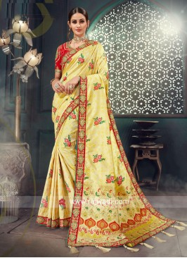 Light Yellow Flower Work Heavy Saree