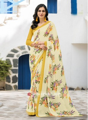 Light Yellow Georgette Saree with Blouse