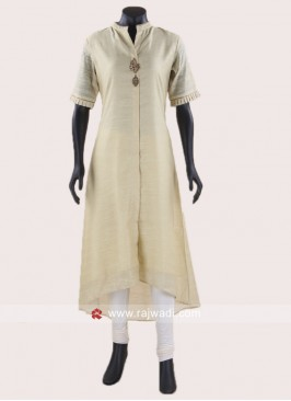 Light Yellow Layered Kurti with Broach