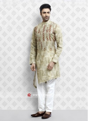 Light Yellow Pathani Suit with Fancy Button