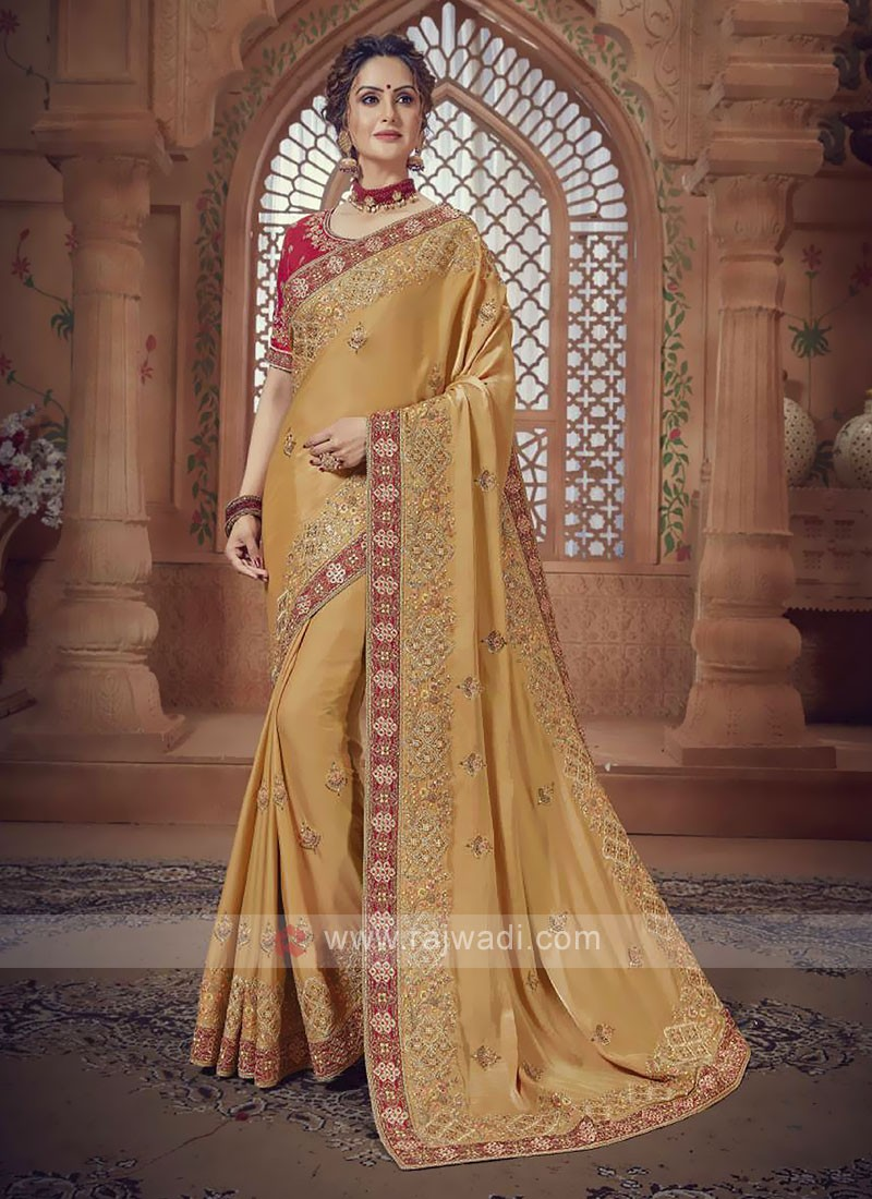 Light Yellow Satin Silk Saree