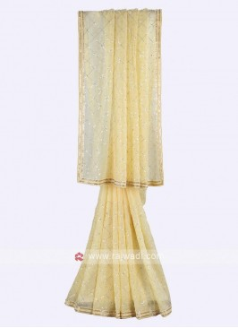 Light yellow tissue silk saree