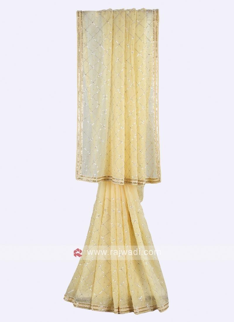 Light yellow tissue silk saree