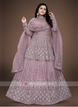 Lilac color anarkali suit