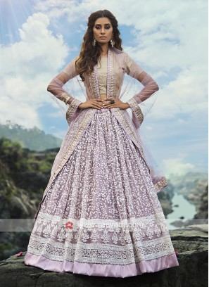 Lilac Color Lehenga Choli With Dupatta
