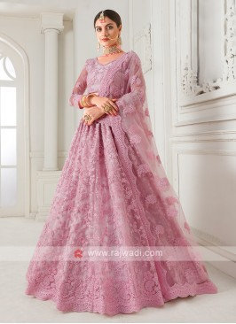 lilac color net lehenga choli