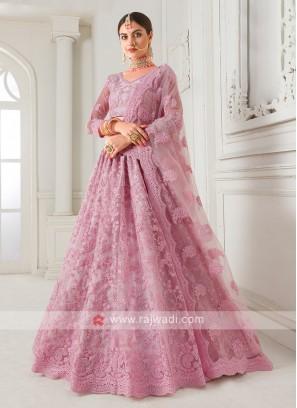 lilac color net lehenga choli