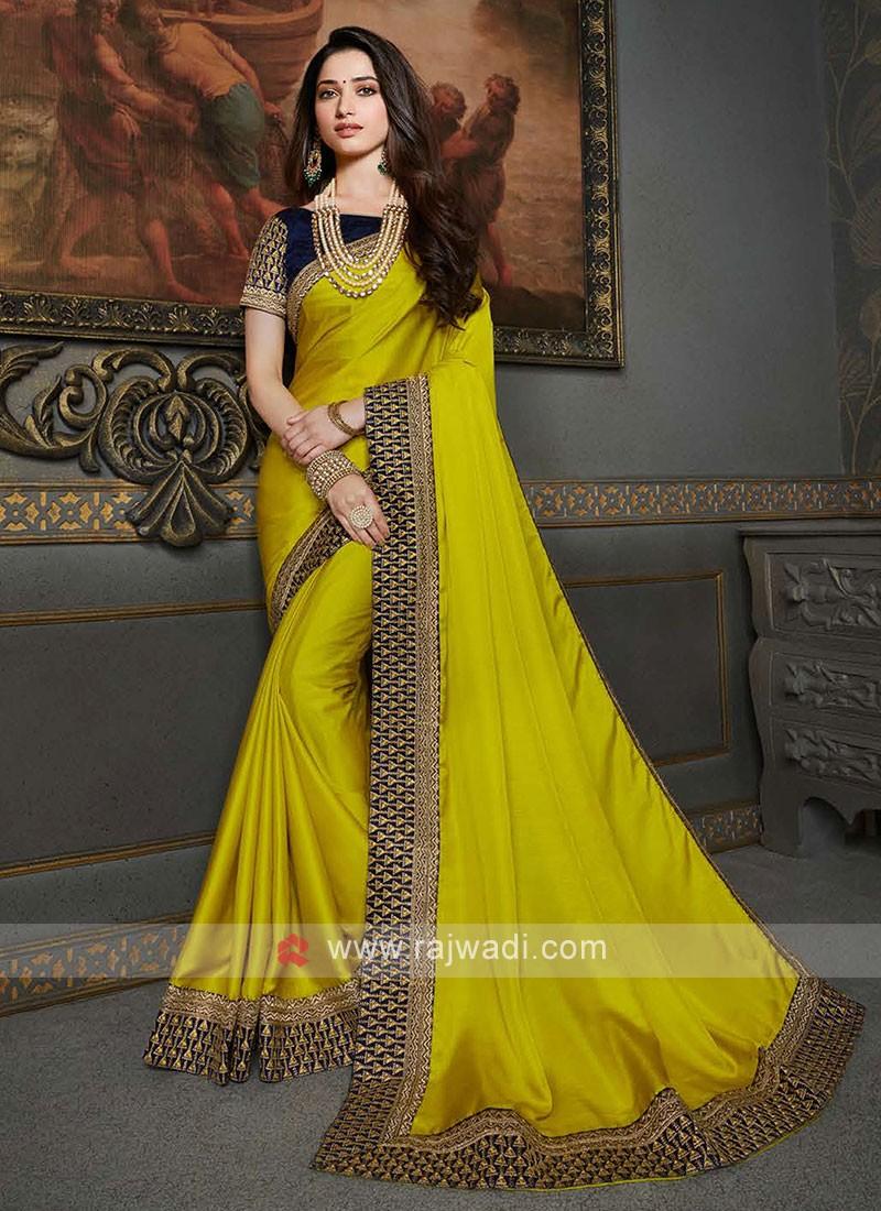 Lime Color Chiffon Silk Saree