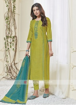 Shagufta Lime Green & Sky Blue Pant Salwar Suit