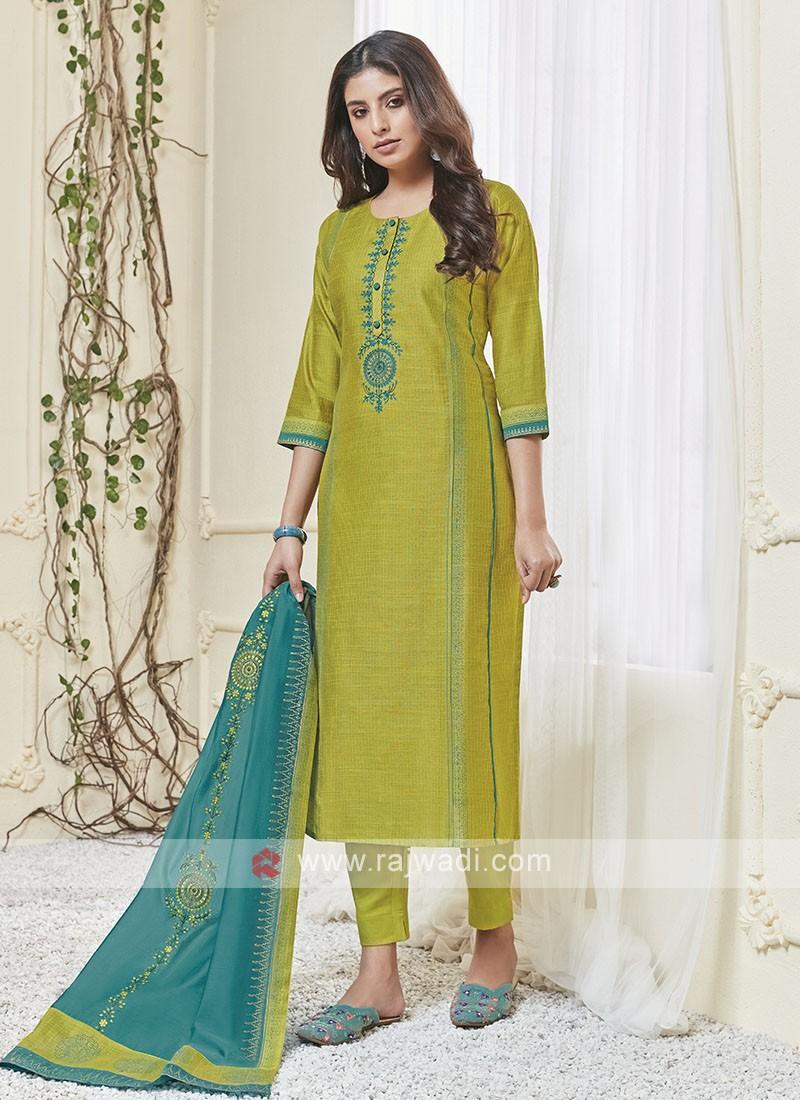 Shagufta Lime Green & Sky Blue Pant Salwar Suit
