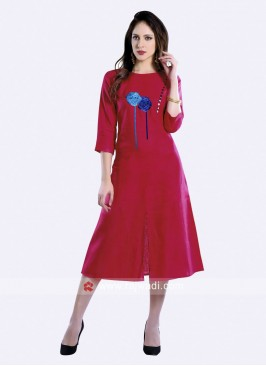 Linen A Line Kurti with Buttons
