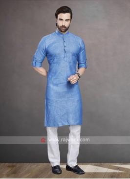 Linen Blue Color Kurta Pajama