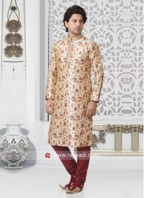 Printed Cream Kurta Pajama