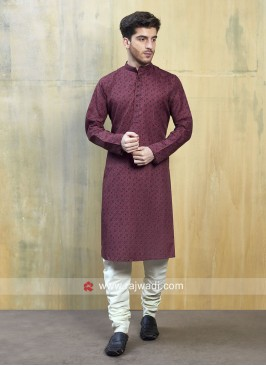 Cotton Silk Maroon Kurta Pajama