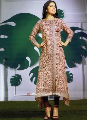 Linen C Cut Neck Tie Up Printed Kurti